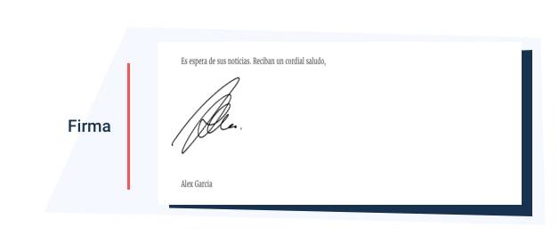 firma de la carta de presentacion