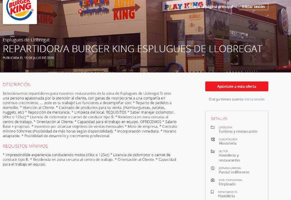 echar curriculum a burger king